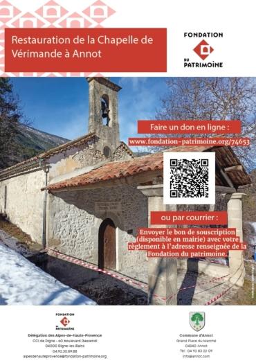 Souscription pour la réfection de la chapelle de Vérimande, Fondation du Patrimoine