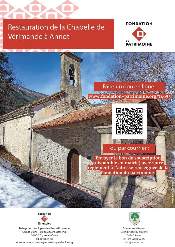 La Fondation du Patrimoine lance une souscription pour la réfection de la Chapelle de Vérimande